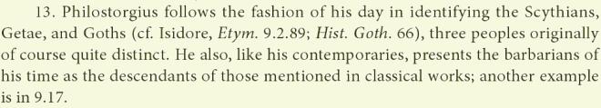 Amidonis neigia Filostorgijų dėl skitų, getų ir gotų tapatumo