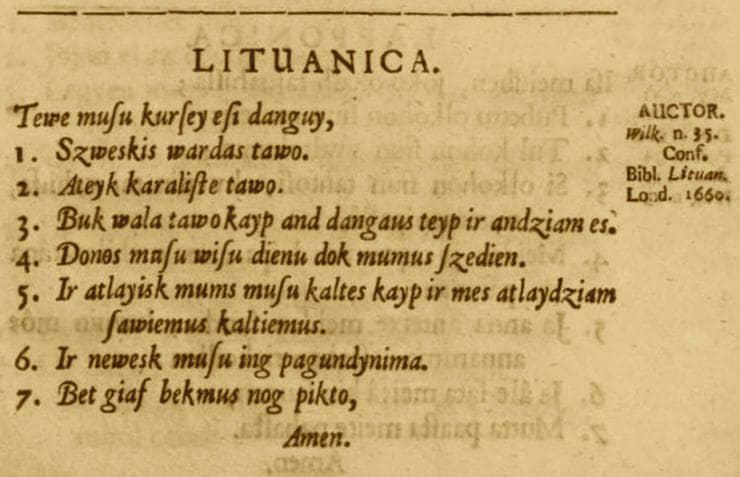 Tėve mūsų 1660 metais